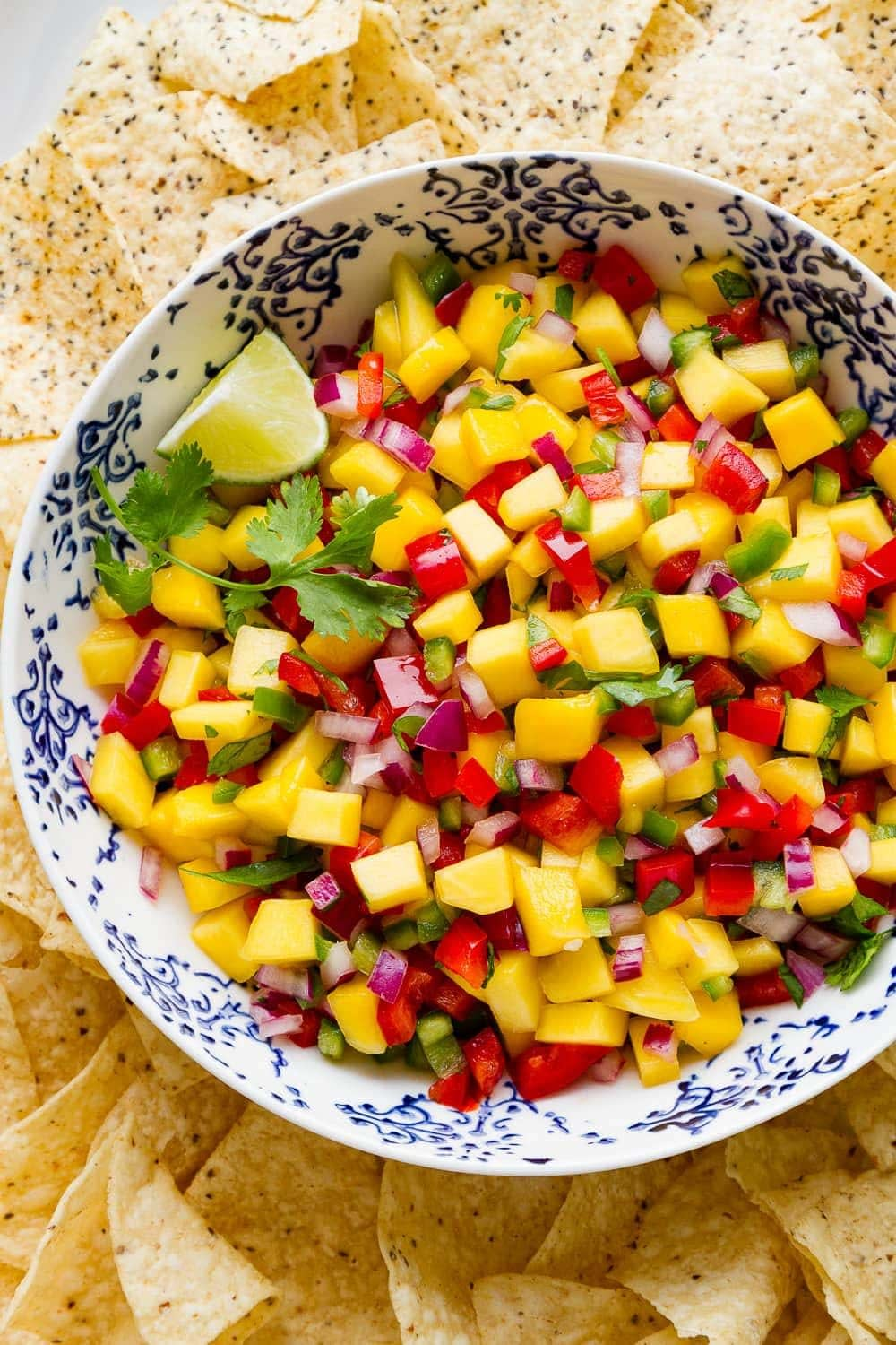 a colorful salsa with red, orange, green, and purple fresh ingredients