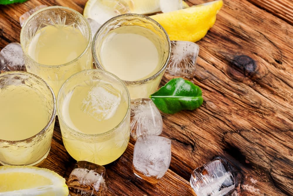 limoncello with lemon rinds