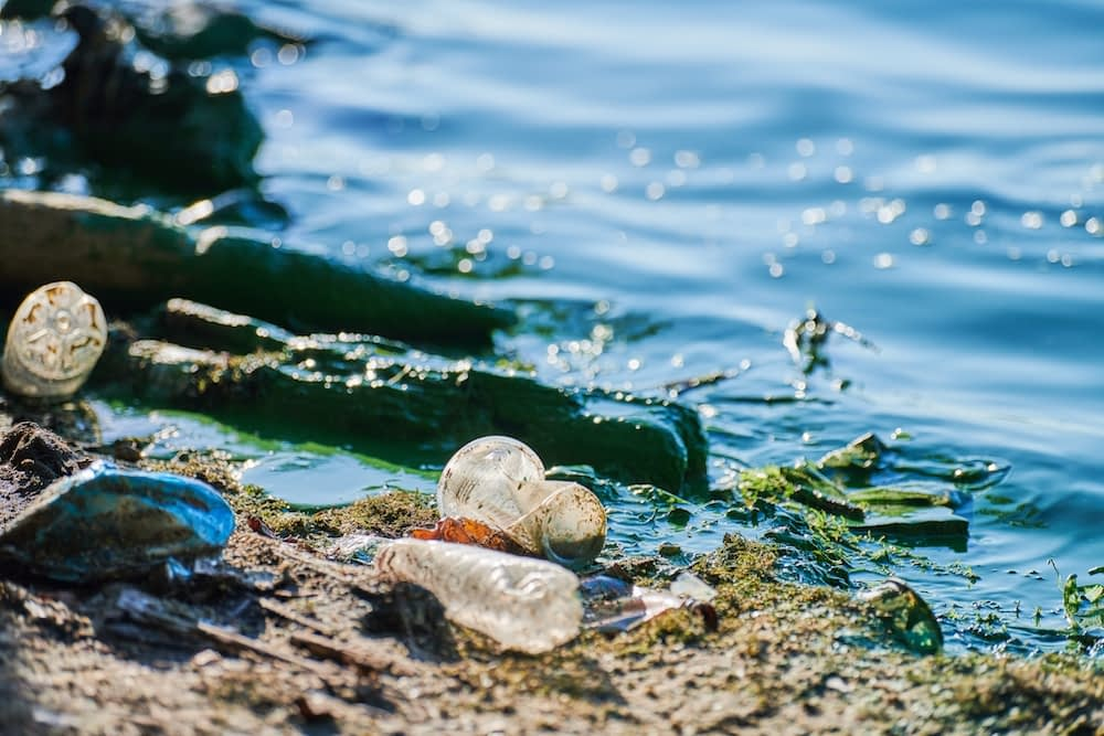 Environmental water pollution. Polluted river - dirty green water, garbage, waste and trash. Harmful water, toxic biohazard. Sewage and wastewater