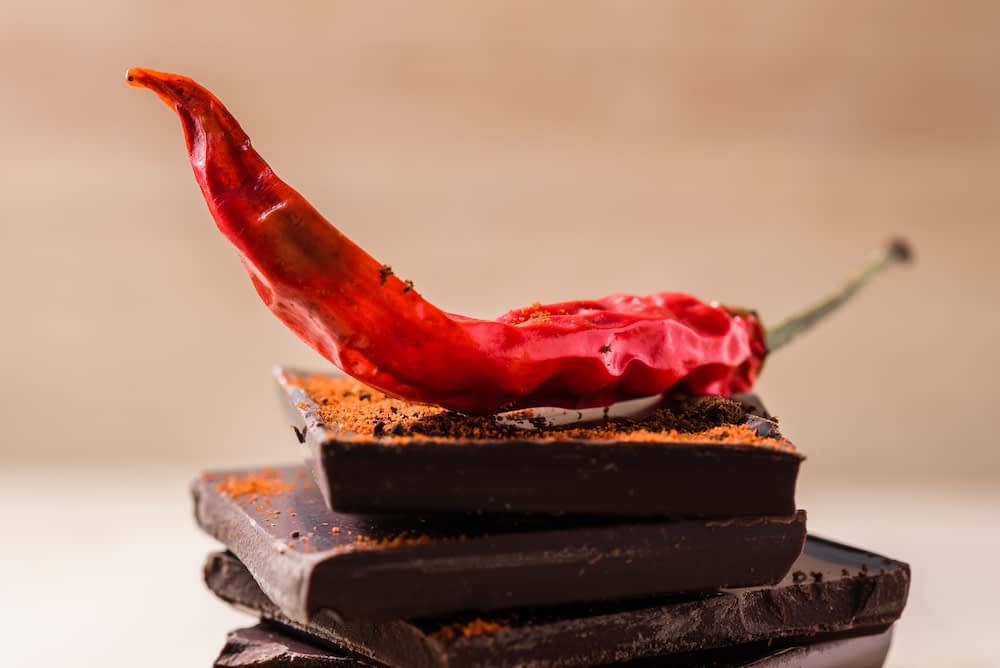 Dried red chili pepper on top of dark chocolate bars.