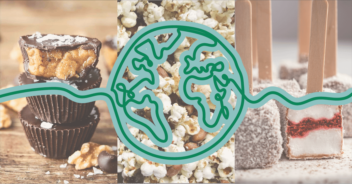 Line drawing of the world over three blurred pictures of healthy junk food; chocolate walnut butter cups, wasabi popcorn, and lamington