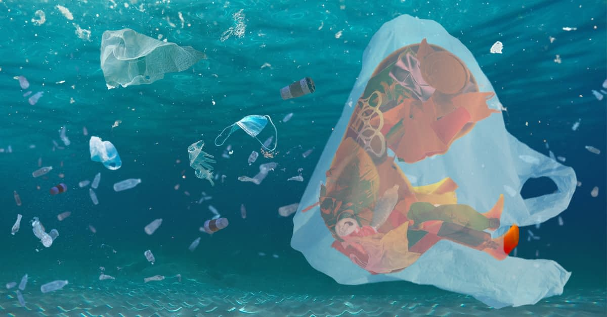 a Fetus of plastic waste floats in a plastic bag. It floats in the ocean with other bits of plastic waste