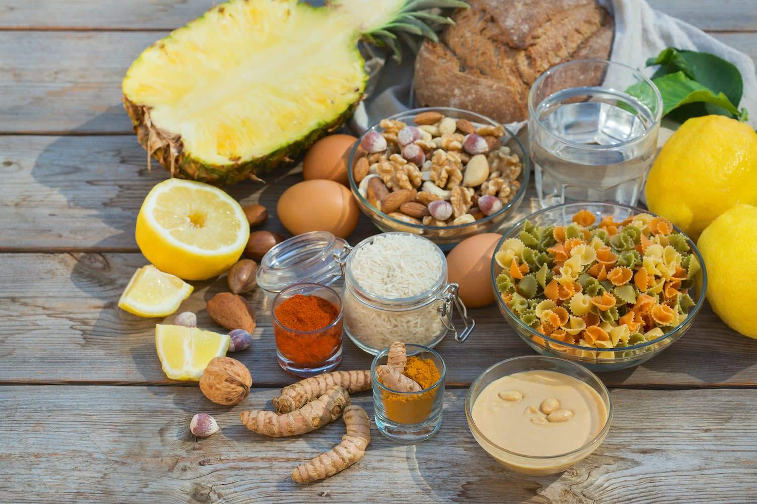 Balanced nutrition concept for low purine eating and diet to stop gout.