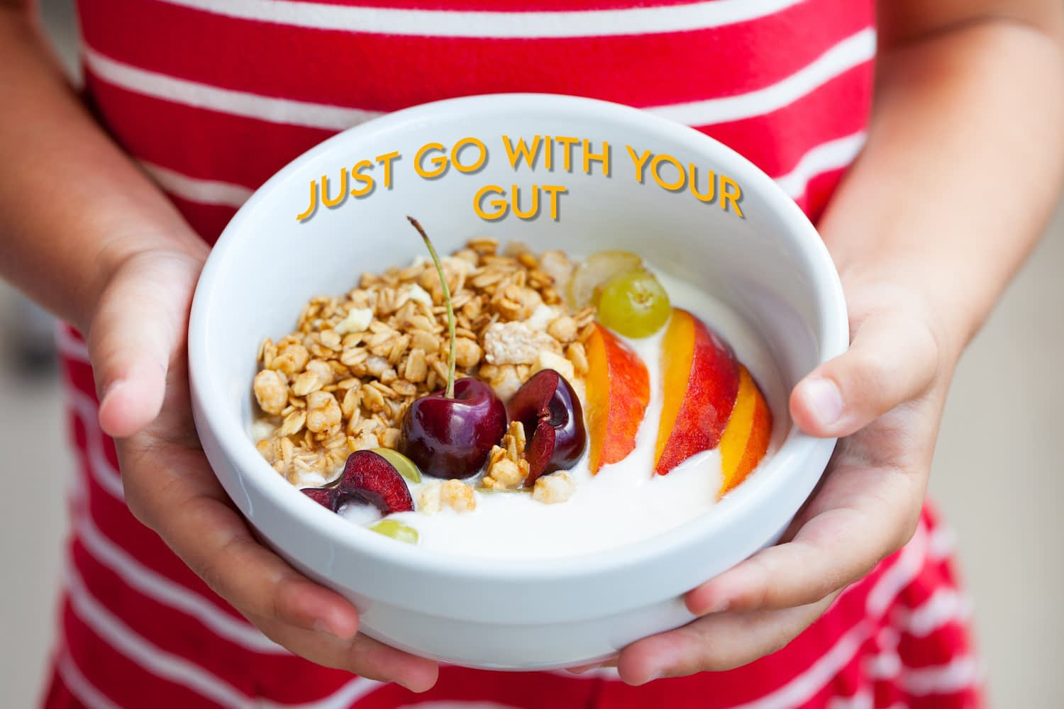 """Oats and various fruits in bowl, held by woman, with phrase """"Just Go With Your Gut""""."""