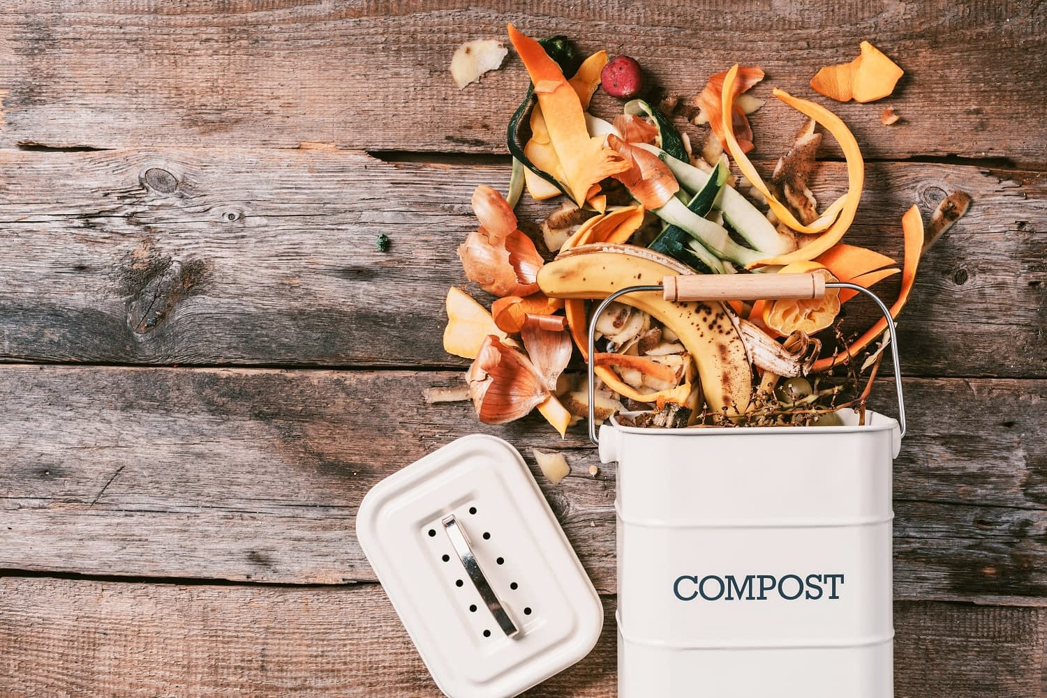 compost bin with food scraps coming out