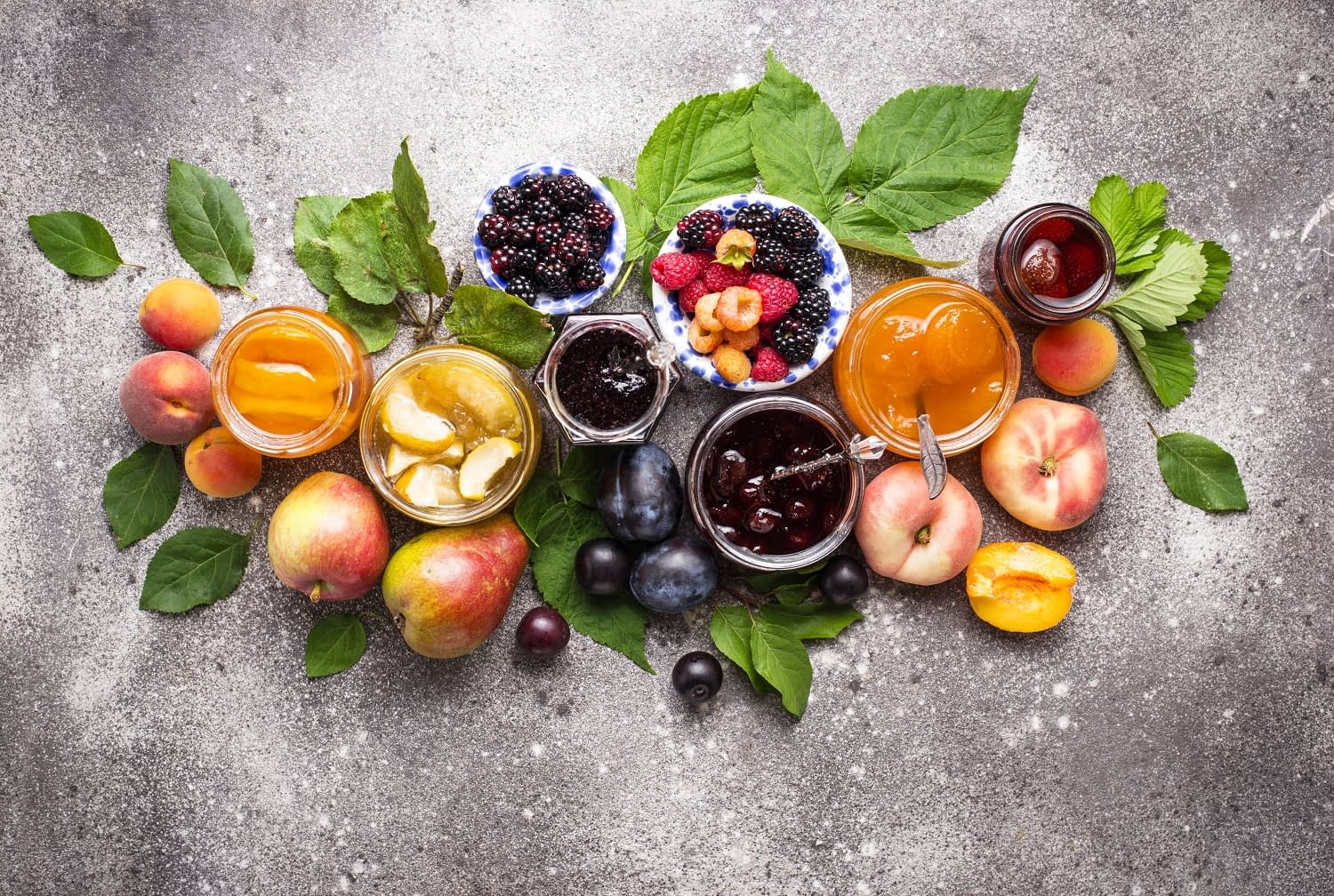 Assortment of fruits and jams