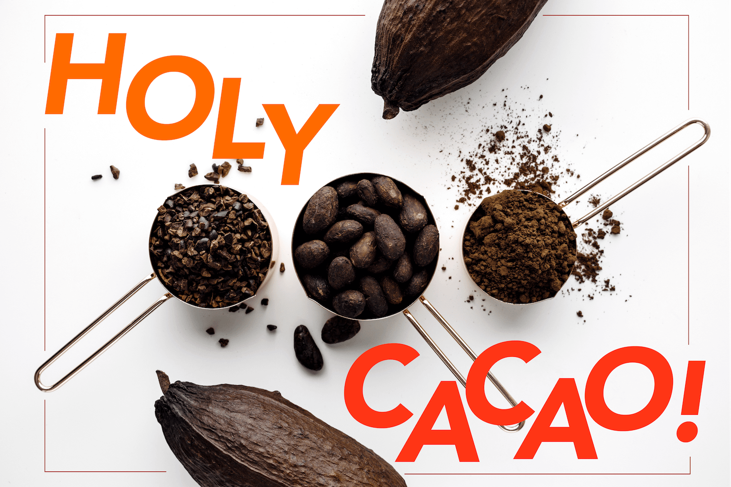 Mixed media graphic, Holy Cacao! Text with cacao beans, cacao powder, cacao pods, cacao nibs in measuring cups.