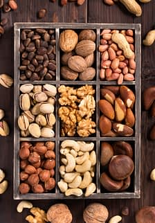a variety nuts with healthy fats to protect the brain