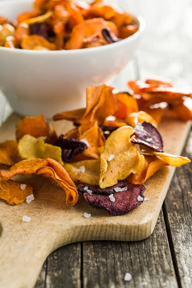 A great idea for figuring out what to do with food scraps is salted crispy veggie chips