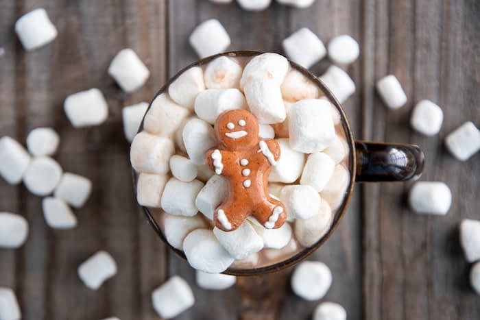 gingerbread man on top of marshmallows