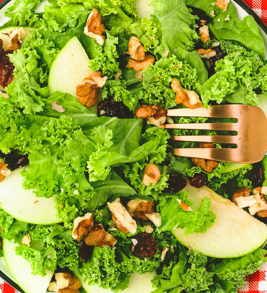 kale salad, summer salad with kale, dark leafy greens, kale salad with cranberries and nuts