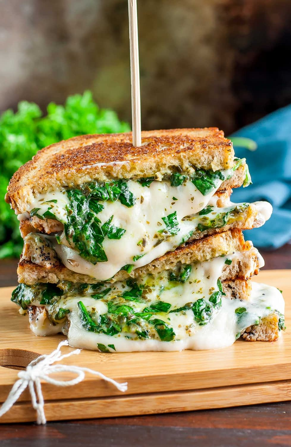 Grilled cheese stack with kale Vegan grilled cheese
