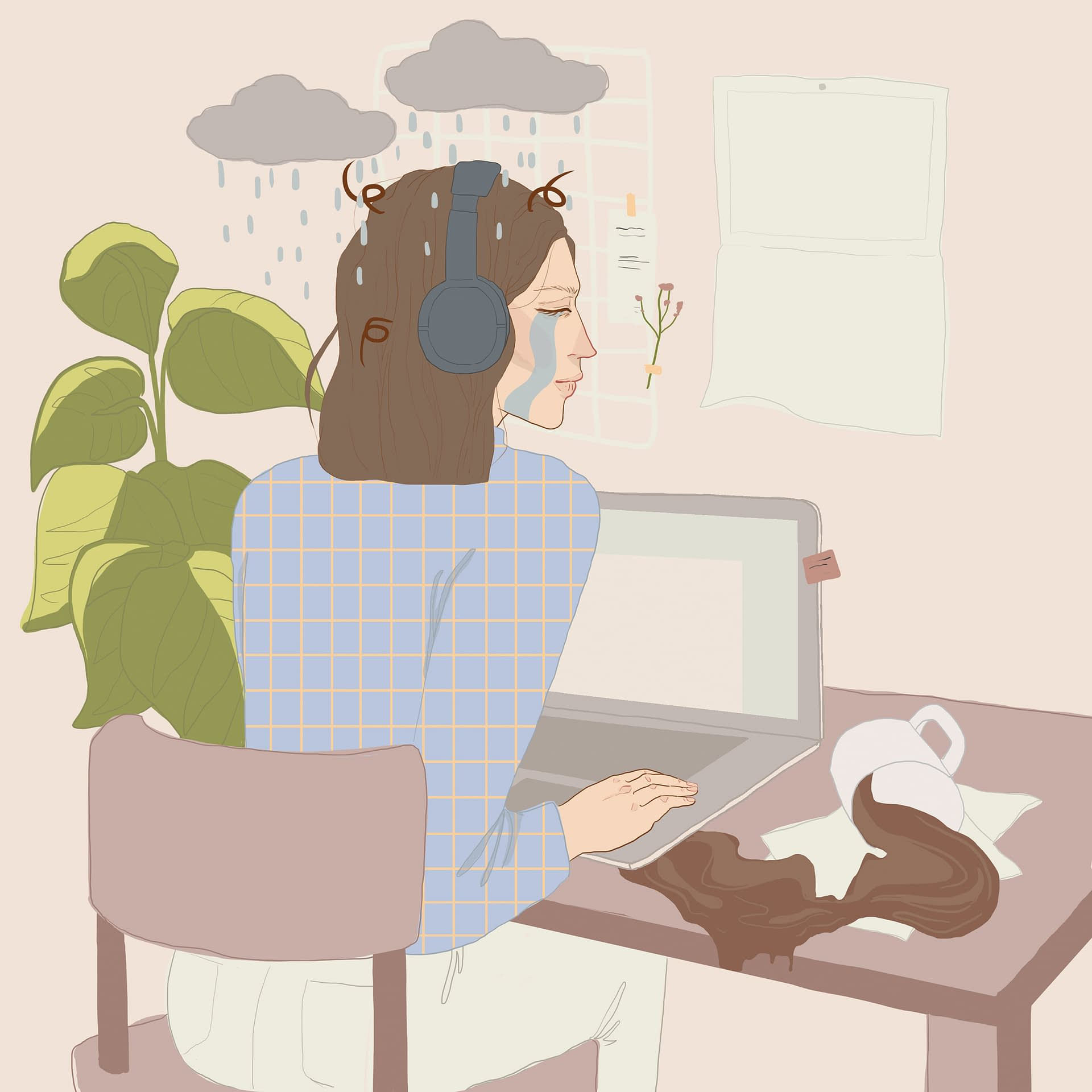 Spilling Coffee - WFH Graphic