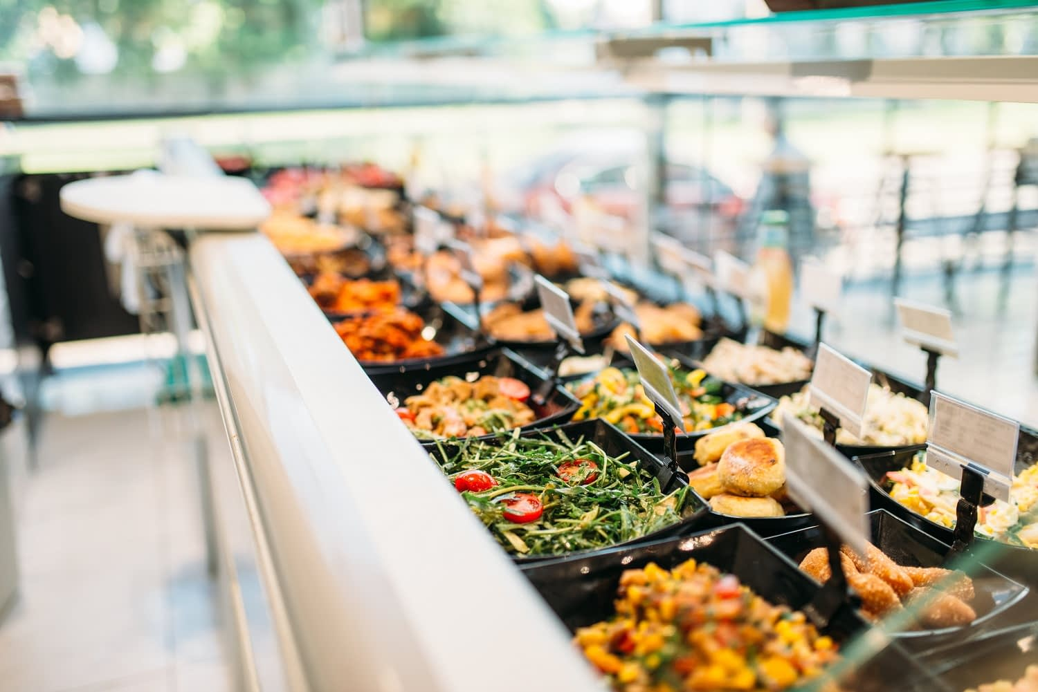 Fully stocked grocery store buffet