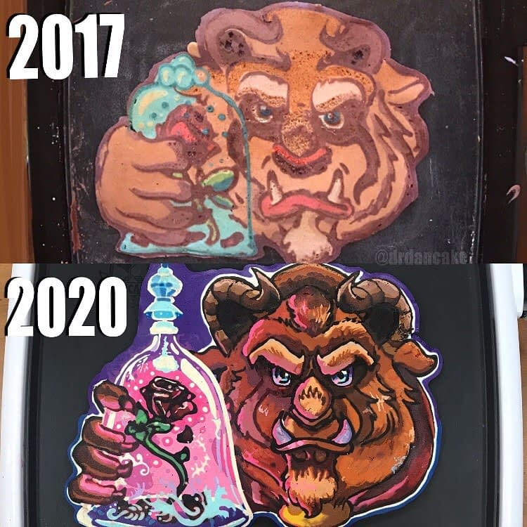 Pancake art of the Beast from 2017 above an improved version of it from 2020
