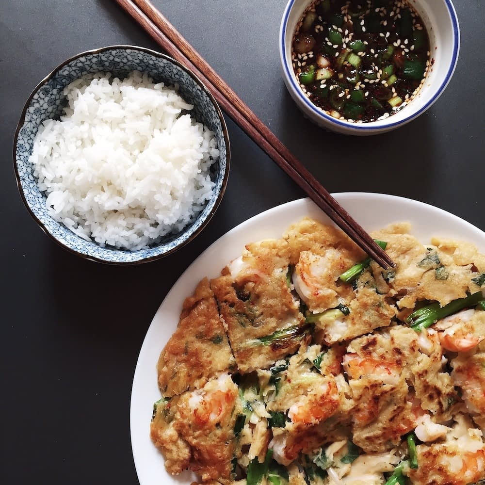 plate of haemul pajeon with a side of white rice