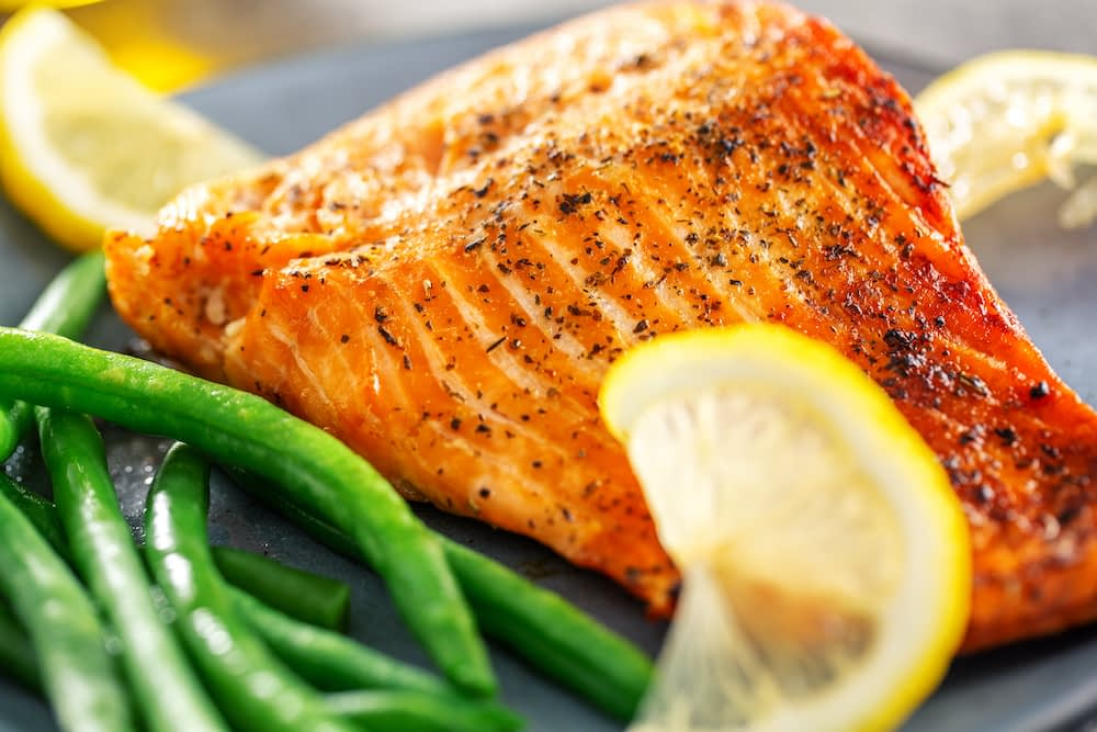 salmon, mother's day dinner, fish and green beans