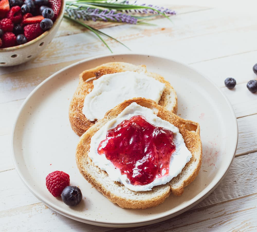 ricotta and jam toast, mother's day brunch, breakfast toast, fruit and toast