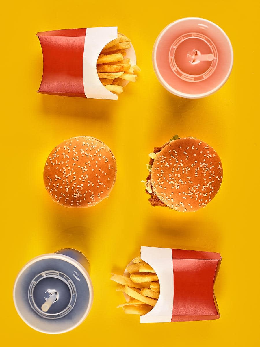 Fast food on a yellow background