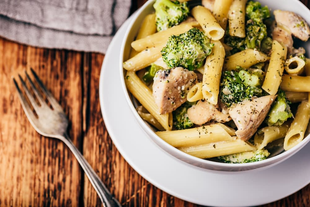 homemade pasta with leftover chicken and broccoli