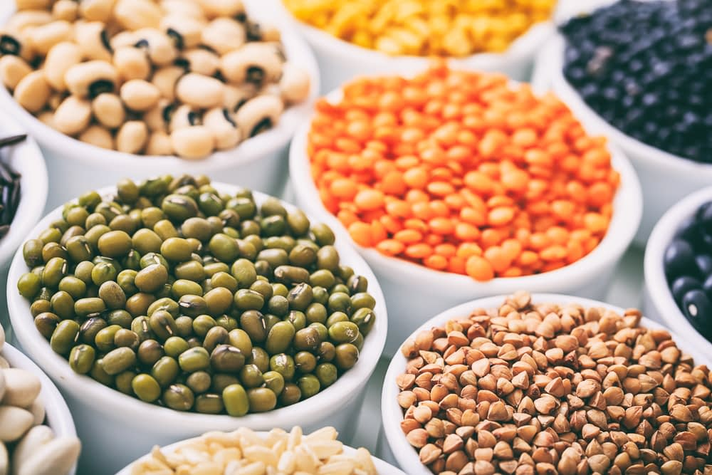 Assortment of legumes in various bowls