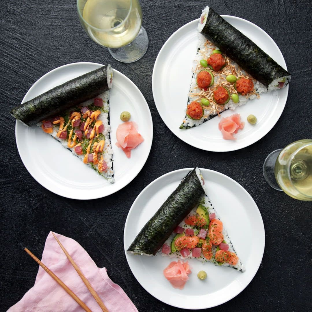 Sushi pizza meal with salmon, ginger, wasabi. Canadian fusion food meal.