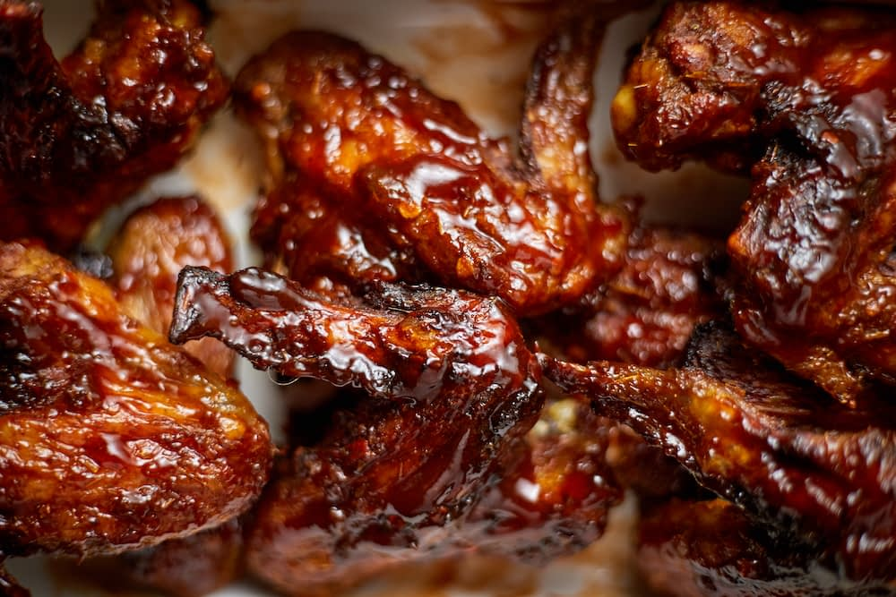 Close up on tangy barbecue chicken wings